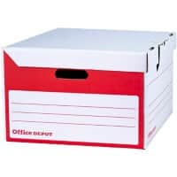 Office Depot Flip Top Self Locking Mechanism Archive Boxes Red 258(H) x 400(W) x 456(D) mm Pack of 10