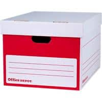 Office Depot Extra Large Self Locking Mechanism Archive Boxes Red 298(H) x 469(W) x 372(D) mm Pack of 10