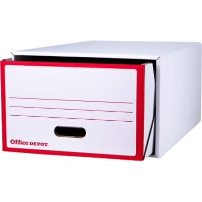 Office Depot Storage Drawer Red, White 44.1 x 63.5 x 28.3 cm 2 Pieces