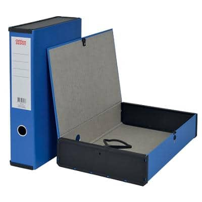 Office Depot Box File Foolscap Paper on Board 75 mm Blue
