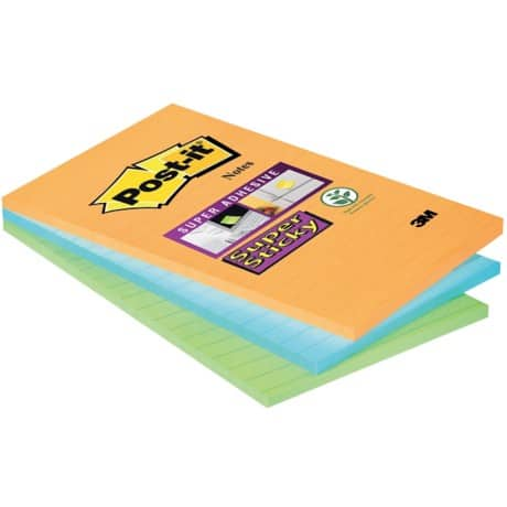 Post-it Super Sticky Notes Assorted Ruled 101 x 152 mm 70gsm 3 pieces of 45 sheets