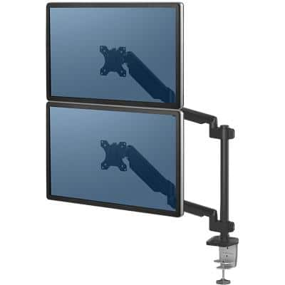 "Fellowes Dual Stacking Monitor Arm Platinum Series Height Adjustable 27"" Black"
