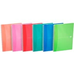Oxford Office Wirebound Notebooks Soft Board Cover A4 Bright Coloured ruled Margin