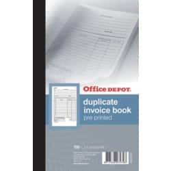 Office Depot pre-printed 210 x 130 mm invoice book with VAT column (100 sheet sets)