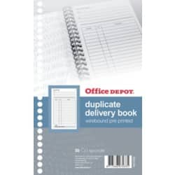 Office Depot wire bound pre-printed 210 x 130 mm delivery duplicate book (50 sheet sets)