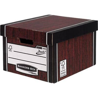 BANKERS BOX® Premium Heavy-Duty Classic Storage Box Woodgrain - Pack of 10