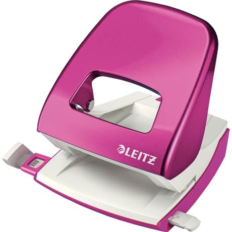 Leitz NeXXt Series WOW Metal Office 2 Hole Punch, Metallic Pink, 30 sheets