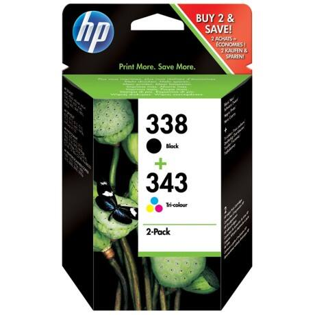 HP 338 + 343 Original Ink Cartridge SD449EE Black & 3 Colours 2 pieces