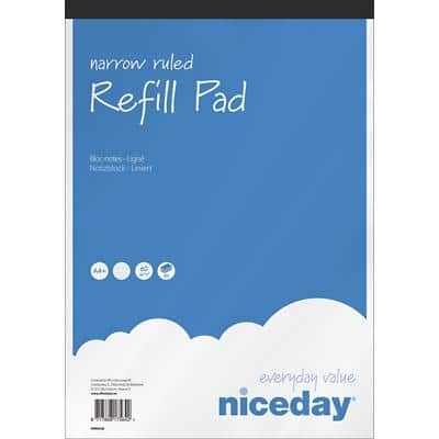 Niceday Refill Pads White Ruled perforated A4+ 31 x 21 cm 80 sheets Pack of 5