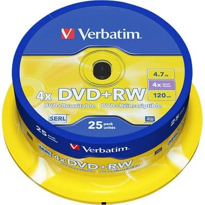 Verbatim DVD+RW 4x 4.7 GB 25 Pieces