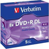 Verbatim DVD+R 8x 8.5 GB 5 Pieces