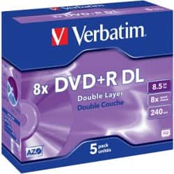 Verbatim DVD+R 8X 8.5 GB jewel case (5 Pack)