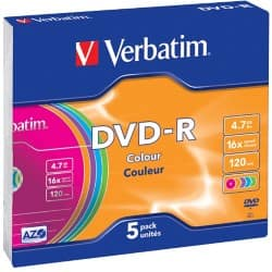Verbatim DVD-R 16X 4.7 GB Slim Wrap (5 Pack)