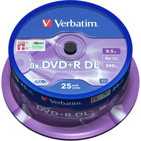 Verbatim DVD+R 5 GB 8 X Spindle (5 Pack)