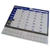 Niceday Wall Calendar A3 Month to View 2021 blue