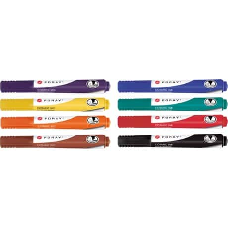 Foray Whiteboard Marker Cosmic WB Bullet Black, Blue, Red, Green, Yellow, Orange, Brown, Purple Pack 8