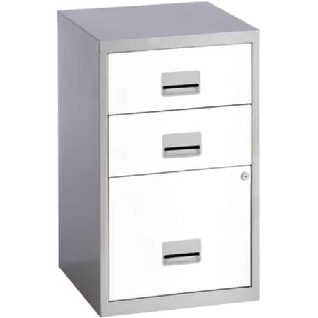 Pierre Henry 'Combi' three drawer A4 filing cabinet - silver / white