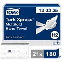 Tork Folded Hand Towels H2 Xpress Advanced 2 Ply Z-fold White 21 Pieces of 180 Sheets