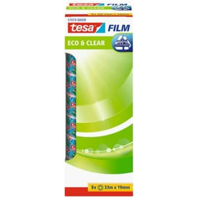 tesafilm Tape Eco & Clear 19 mm x 33 m Transparent 8 Rolls