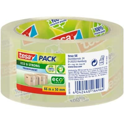 tesapack Packaging Tape Eco & Strong, PP 50 mm x 66 m Transparent