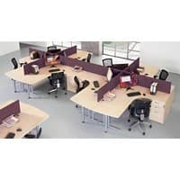 Dams International Desk Screen ES1800S-BU Red 1,800 x 400 mm