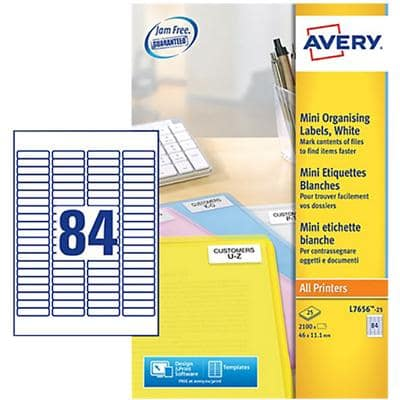 AVERY Mini Organising Labels L7656 White Self Adhesive A4 46 x 11.1 mm 84 Sheets of 25 Labels