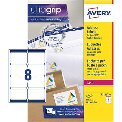 AVERY Address Labels L7165-40 UltraGrip White A4 99.1 x 67.7 mm 40 Sheets of 8 Labels
