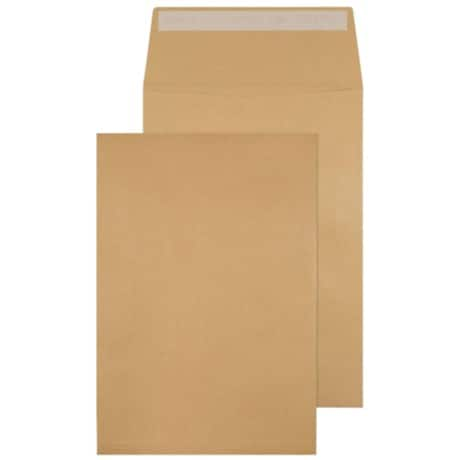 Blake Envelopes c4 120gsm Brown plain peel and seal 10 pieces