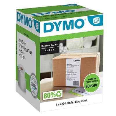 DYMO LW Address Labels Extra Large S0904980 Black on White Self Adhesive 104 mm x 159 mm 220 Labels