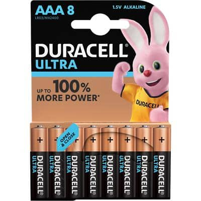 Duracell AAA Alkaline Batteries Ultra Power MX2400 LR03 1.5V Pack of 8