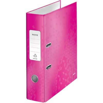 Leitz WOW Lever Arch File 80 mm Cardboard 2 ring A4 Pink