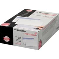 PROFESSIONAL Envelopes DL 110 x 220 mm 90 g/m² White Plain Flap 500 Pieces