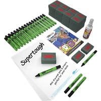 Show-me SUPERTOUGH Class Pack of Drywipe Boards, Pens & Erasers Pack of 107