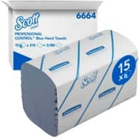 Scott Hand Towels Medium 1 Ply M-fold Blue 15 Pieces of 212 Sheets