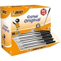 BIC Ballpoint Pen Cristal Medium Black 90+10 Free Pack of 100