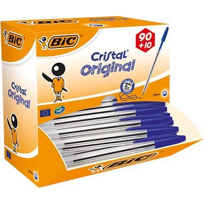 BIC Cristal Original Ballpoint Pen Medium 0.4 mm Blue Pack of 100