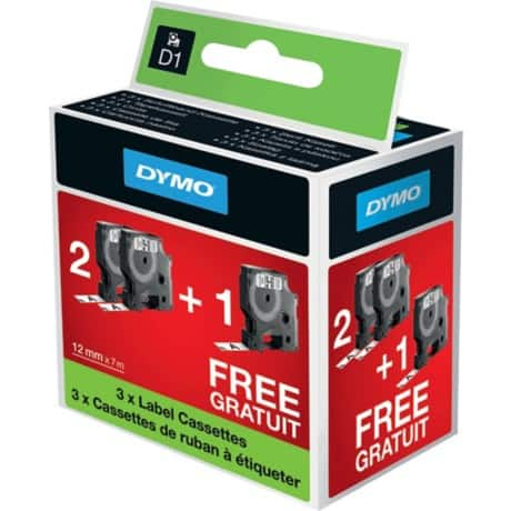 DYMO Labelling Tape D1 (2+1 FREE) 12 mm x 7 m black / white