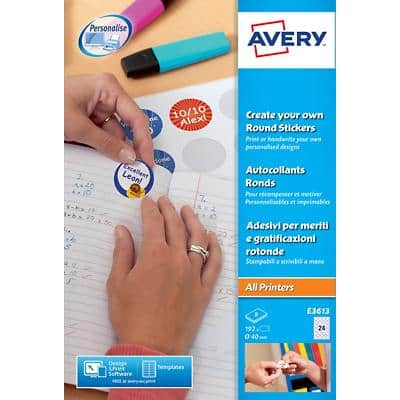 Avery E3613 Round Reward Stickers A4 White 8 Sheets of 24 Labels 8 Sheets of 24 Labels