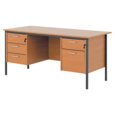 Classic 1500 mm dual pedestal executive desk in beech-effect