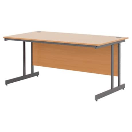 Classic Plus 1200 mm straight cantilever desk in beech-effect