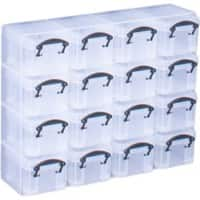 Really Useful Boxes Storage Box 16org 0.14 L Black, Transparent Plastic 28 x 6.5 x 22.4 cm 16 Pieces
