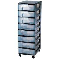 Really Useful Box 8 x 7 Litre Plastic Drawer Unit Black 300 x 420 x 925 mm