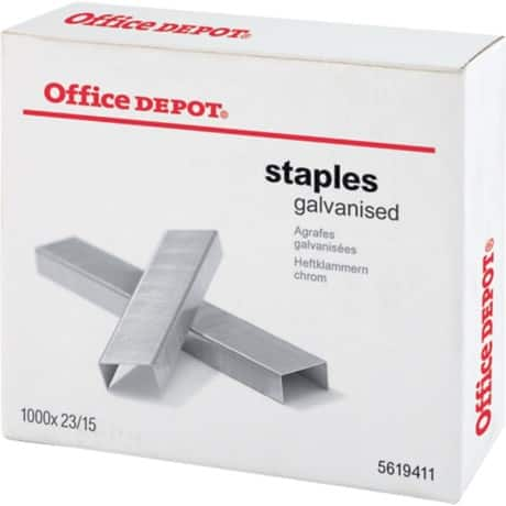 Office Depot Staples Chrome 23/15 - Box of 1000