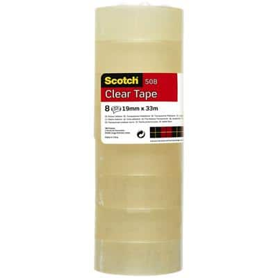 Scotch Tape Easy Tear Polypropylene 19mm x 33m Transparent 8 Rolls