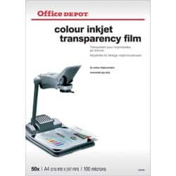 Office Depot A4 transparency film for colour inkjets - 125 micron - Pack of 50