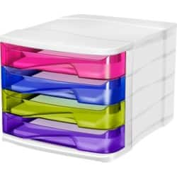 CEP Pro Happy 4 Drawer Filing Module Unit - Multicolour Pink Green Blue Purple