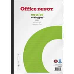Office Depot Writing Pad White, Green Ruled unperforated A4 31.5 x 21 cm Pack 5