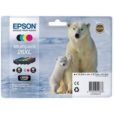 Epson 26XL Original Ink Cartridge C13T26364010 Black & 3 Colours 4 Pieces
