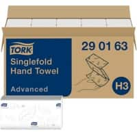 Tork Folded Hand Towels H3 Advanced 2 Ply V-fold White 15 Pieces of 250 Sheets