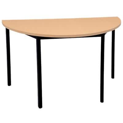Niceday Semicircular Meeting Room Table with Beech Coloured MFC & Aluminium Top and Black Frame 1400 x 700 x 750 mm